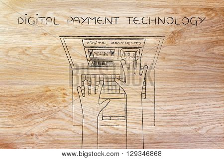 Atm Inside Laptop Screen With Hand Inserting Card, Digital Payment