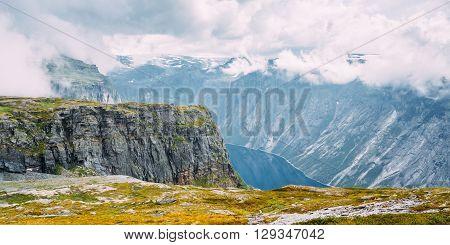 Panorama Of Norwegian Mountains and Lake Landscape. Nature of Norway. Travel and Hiking. Amazing Scenic View. Nobody. Scandinavia.