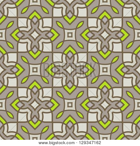 Ornamental seamless pattern: natural neon. Trendy textiles, fashion, neon yellow green and beige gray vector abstract background. Geometric ornament, thin lines