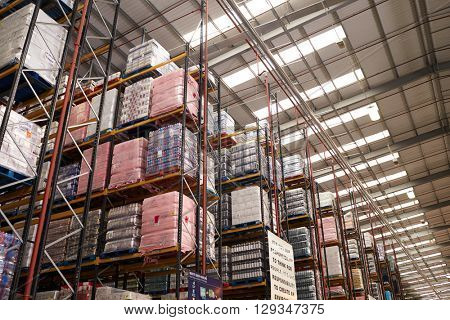 Stored merchandise in a distribution warehouse, low angle