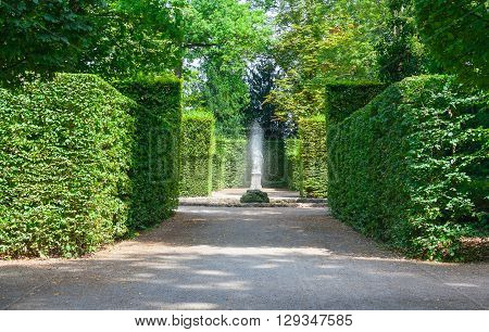 Beautiful garden with green hedges with a fountain and walkways.
