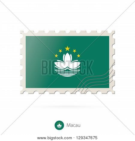 Postage Stamp With The Image Of Macau Flag.