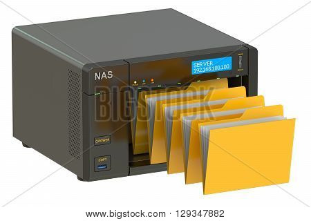 NAS concept of data storage. 3D rendering isolated on white background