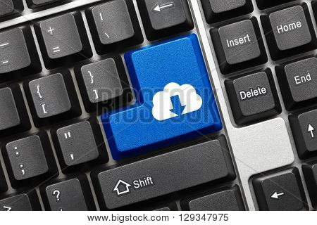 Conceptual Keyboard - Blue Key With Cloud Download Symbol