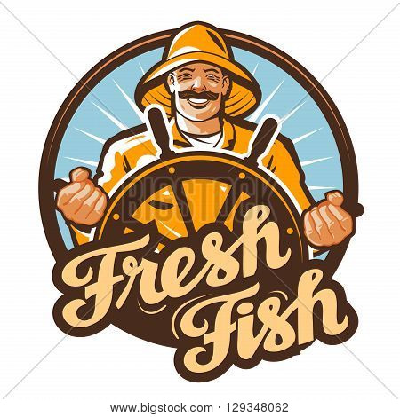 fresh fish. fisherman at the helm of a fishing boat. vector illustration