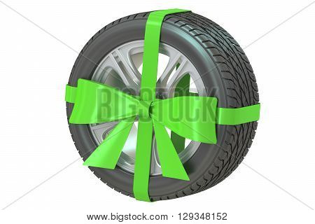 Tyre with bow and ribbon 3D rendering isolated on white background