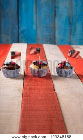 Freshly baked cupcake with a 4th of July theme