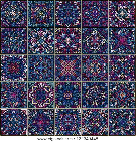 Colorful Square Tiles Seamless pattern. Rich tile ornament in oriental style. Square tile patchwork design. Intricate tile pattern. Boho chic tile pattern for fashion fabric, furniture, wallpaper.