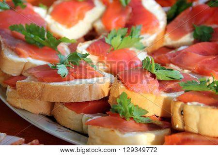 closeup of smoked salmon with cream cheese