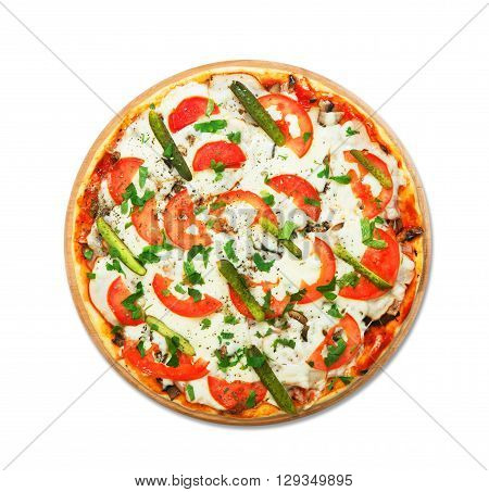 Delicious pizza with mushrooms and asparagus - thin pastry crust at wooden round desk isolated at white background. Italian food. Top view