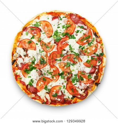 Delicious pizza with mushrooms and smoked chicken meat - thin pastry crust isolated at white background. Top view