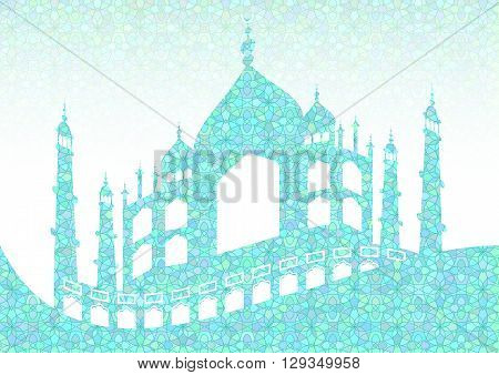 Cyan pattern with mosques on stained glass kaleidoscope backdrop for wishes with beginning of fasting month of Ramadan as well with Islamic holiday Eid al-Fitr and Eid al-Adha. Vector illustration