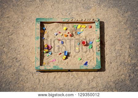 Sandbox. Day care center (kindergarten). Top view.
