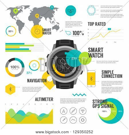 Premium quality flat color smart watch infographic. Modern web graphics thin line icons set.  Simple mono outline symbol collection and vector pictogram pack.