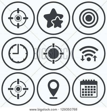 Clock, wifi and stars icons. Crosshair icons. Target aim signs symbols. Weapon gun sights for shooting range. Calendar symbol.