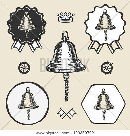 ship bell vintage sea naval symbol emblem label collection set