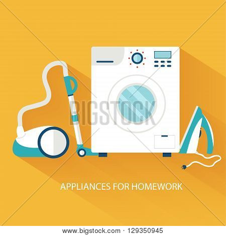 Flat Household Appliances Background Concept. Vector Illustratio