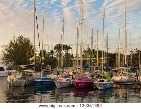Trois ilets Martinique island French West Indies-April 19 2016 : The yachts in  Point de bout marina, Martinique island