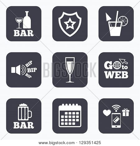 Mobile payments, wifi and calendar icons. Bar or Pub icons. Glass of beer and champagne signs. Alcohol drinks and cocktail symbols. Go to web symbol.