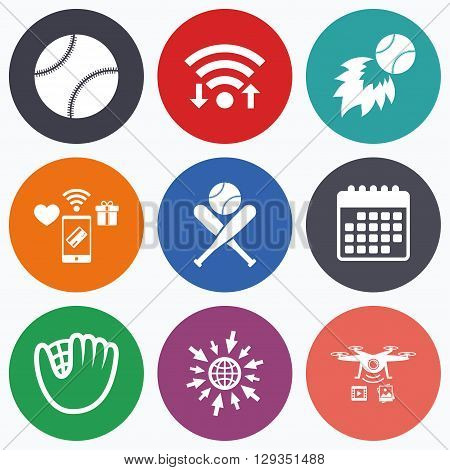 Wifi, mobile payments and drones icons. Baseball sport icons. Ball with glove and two crosswise bats signs. Fireball symbol. Calendar symbol.
