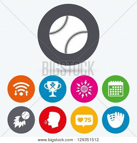 Wifi, like counter and calendar icons. Baseball sport icons. Ball with glove and two crosswise bats signs. Fireball with award cup symbol. Human talk, go to web.