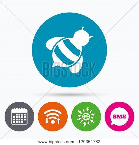 Wifi, Sms and calendar icons. Bee sign icon. Honeybee or apis with wings symbol. Flying insect diagonal. Go to web globe.