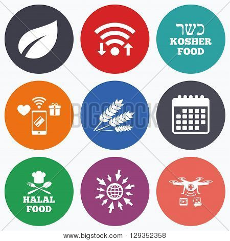 Wifi, mobile payments and drones icons. Natural food icons. Halal and Kosher signs. Gluten free. Chief hat with fork and spoon symbol. Calendar symbol.