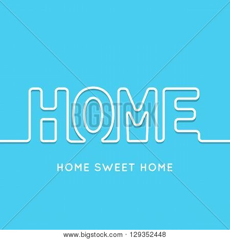 Home icon with shadow in blue background. illustration for your business presentation. Line style. Border for web page or presentation.