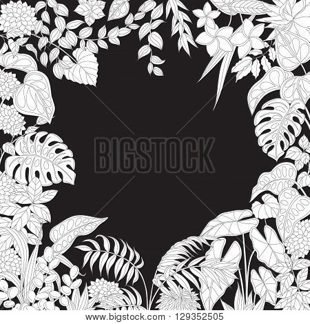 Contoured leaves and flowers on black background. Square floral frame of outline tropical plants with space for text.