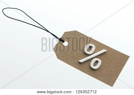 PER CENT sign on cardboard tag on white background.Isolated