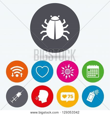 Wifi, like counter and calendar icons. Bug and vaccine syringe injection icons. Heart and spray can sign symbols. Human talk, go to web.