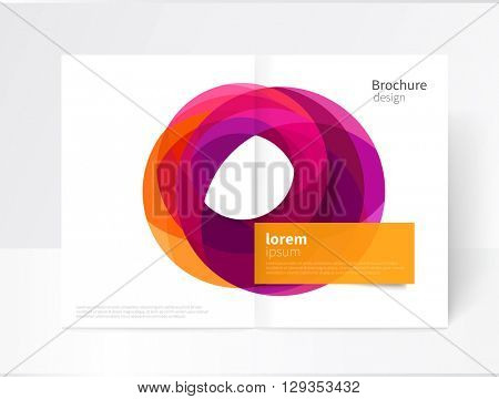 Vector Abstract geometric background, Annual Report, Flyer, Leaflet, brochure Cover Template. Yellow, red and purple circles intersecting. A3 size creative concept catalogue design. EPS 10