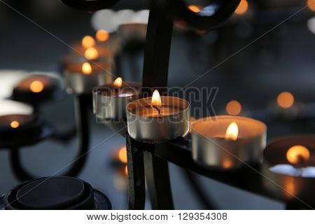 A lot of Candlelights in a Church. Iceland