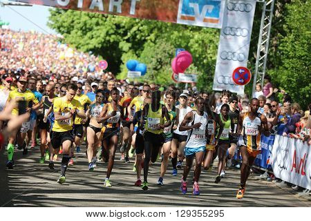 Heilbronn, Germany - May 8, 2016: The Start of the half marathon in Heilbronn. Its called the Trollinger Marathon. In 2016 it was the 16th Marathon Event in Heilbronn.