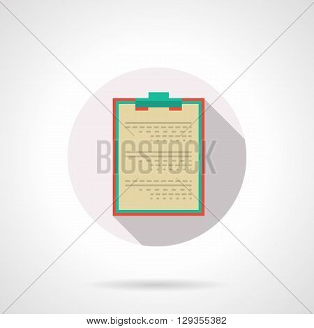Board for records with clip and paper. Medical documentation or patient data. Doctor entries, diagnosis and treatment. Round flat color vector icon. Web design element for site, mobile and business.