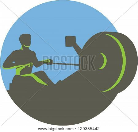 Illustration of a silhouette of a rower exercising on a rowing machine viewed from front set inside circle done in retro style.