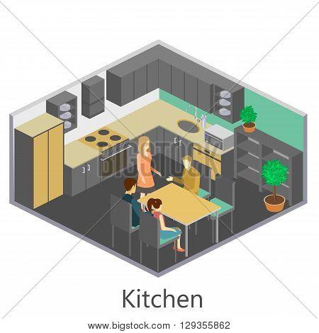 Isometric Interior Of Kitchen