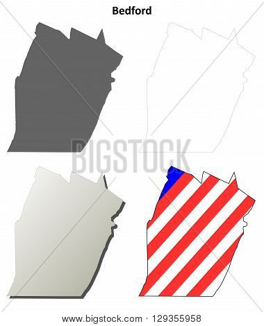 Bedford County, Pennsylvania blank outline map set