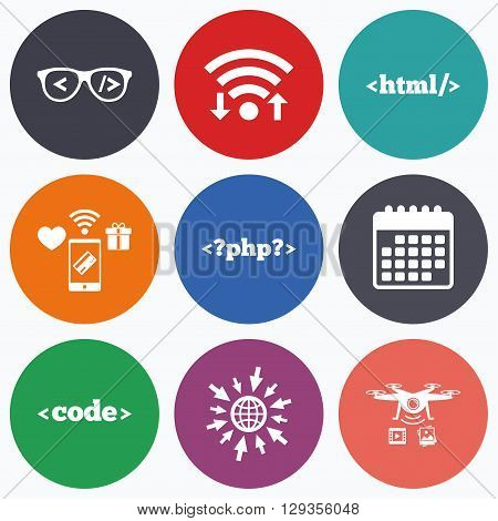 Wifi, mobile payments and drones icons. Programmer coder glasses icon. HTML markup language and PHP programming language sign symbols. Calendar symbol.