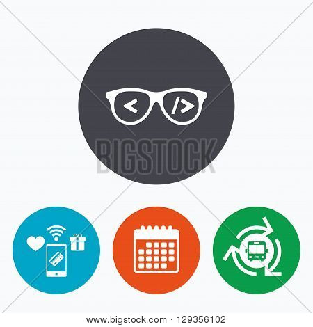 Coder sign icon. Programmer symbol. Glasses icon. Mobile payments, calendar and wifi icons. Bus shuttle.
