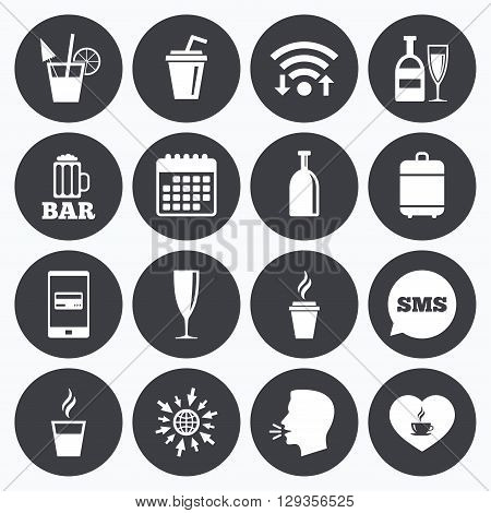 Wifi, calendar and mobile payments. Beer, coffee and tea icons. Beer, wine and cocktail signs. Soft and alcohol drinks symbols. Sms speech bubble, go to web symbols.