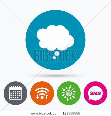 Wifi, Sms and calendar icons. Comic speech bubble sign icon. Chat think symbol. Go to web globe.