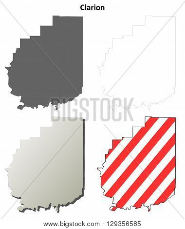 Clarion County, Pennsylvania blank outline map set