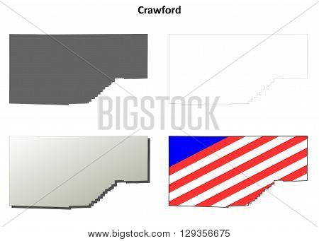 Crawford County, Pennsylvania blank outline map set