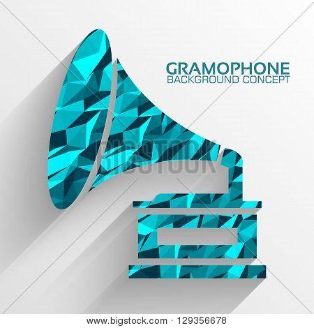 Polygonal Retro Gramophone Vector Background Concept. Illustrati