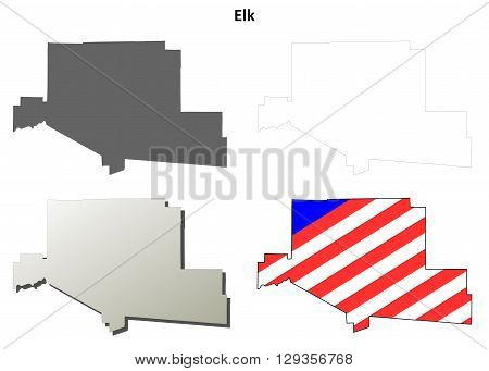 Elk County, Pennsylvania blank outline map set