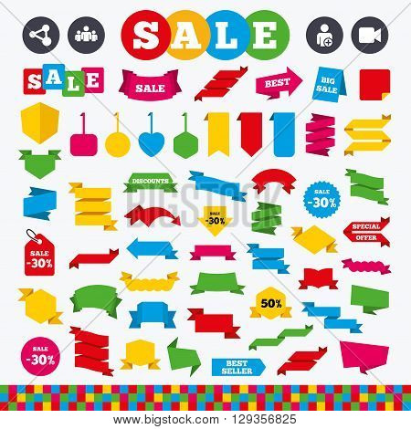 Banners, web stickers and labels. Group of people and share icons. Add user and video camera symbols. Communication signs. Price tags set.