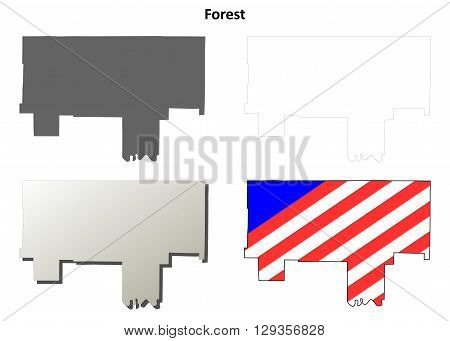 Forest County, Pennsylvania blank outline map set