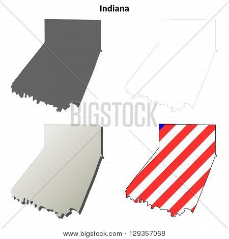Indiana County, Pennsylvania blank outline map set