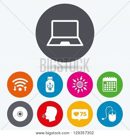 Wifi, like counter and calendar icons. Notebook pc and Usb flash drive stick icons. Computer mouse and CD or DVD sign symbols. Human talk, go to web.